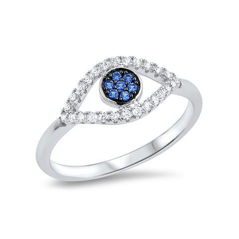 Evil Eye Ring Simulated Blue Sapphire Round CZ 925 Sterling Silver - Blue Apple Jewelry