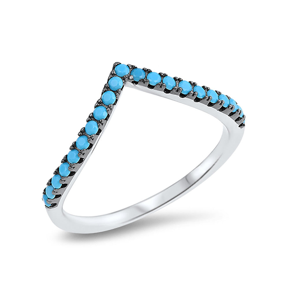Chevron Midi V Ring Half Eternity Round Simulated Nano Turquoise 925 Sterling Silver - Blue Apple Jewelry