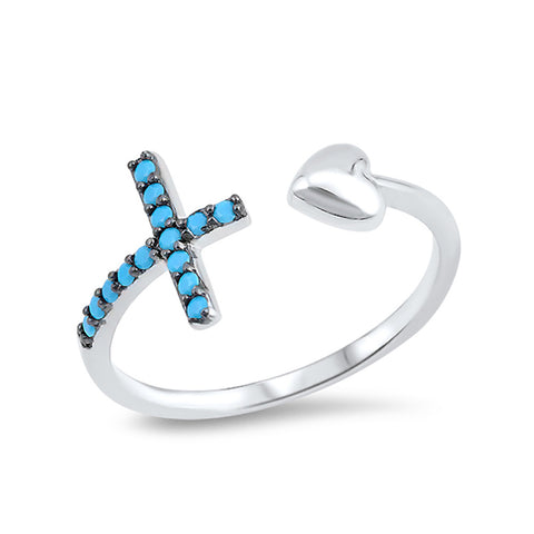 Cross and Heart Ring Simulated Facet Cut Nano Turquoise 925 Sterling Silver