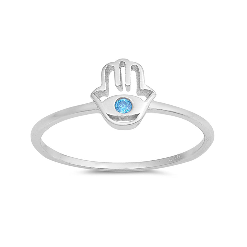 Hand of God Hamsa Band Ring Round Cut Simulated Blue Topaz 925 Sterling Silver - Blue Apple Jewelry