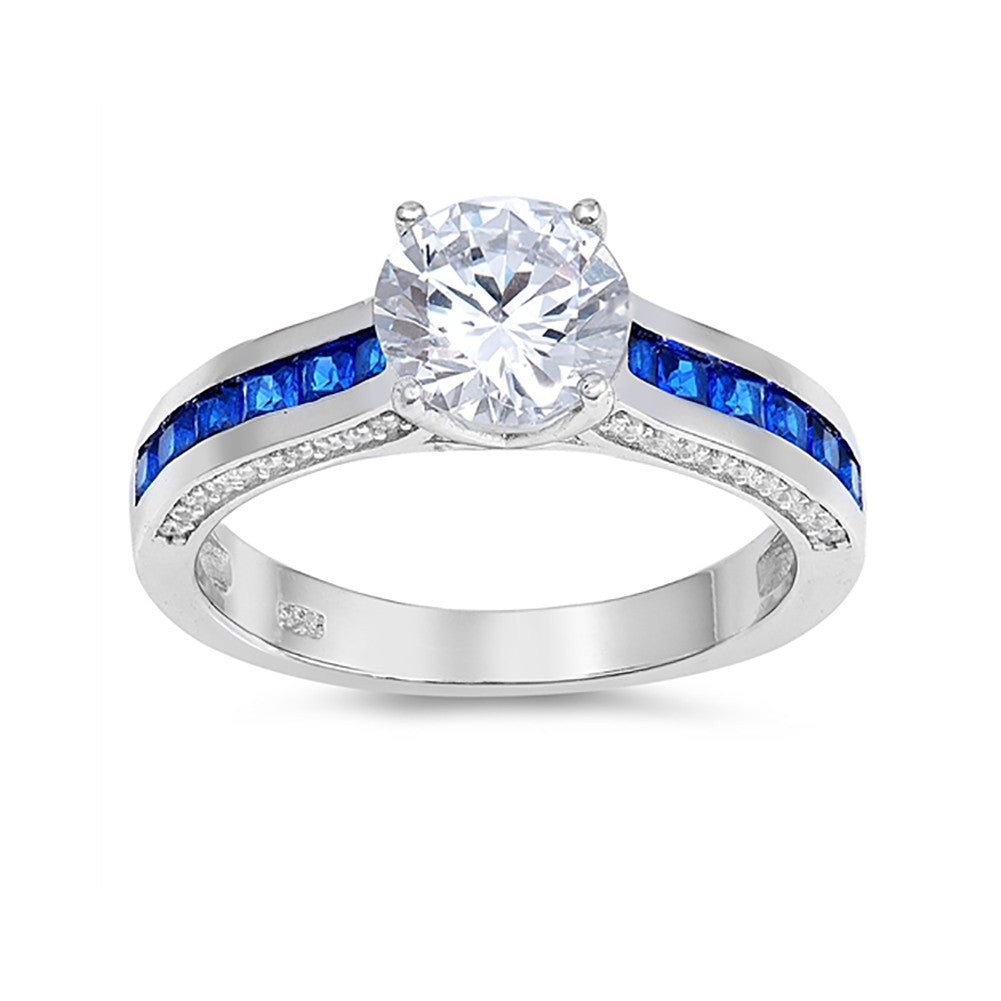 Engagement Ring Princess Cut Simulated Blue Sapphire Round CZ 925 Sterling Silver
