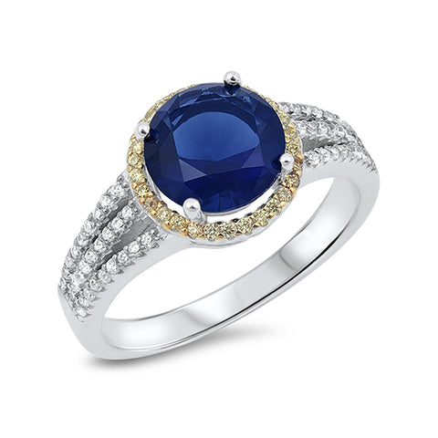 Halo Dazzling Split Shank Wedding Ring Simulated Blue Sapphire Round Yellow,Clear CZ 925 Sterling Silver - Blue Apple Jewelry