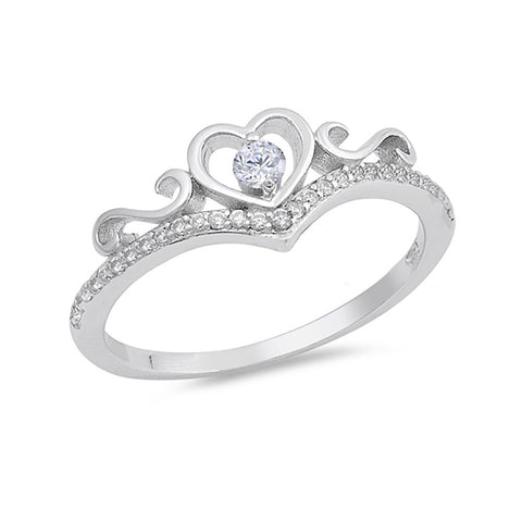 Half Eternity Engagement Ring Round Cubic Zirconia 925 Sterling Silver - Blue Apple Jewelry