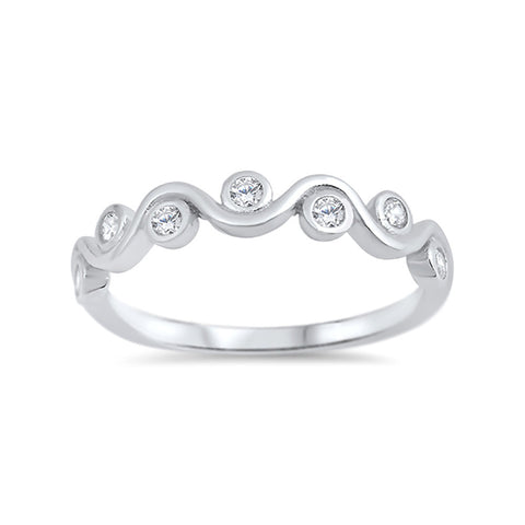 Half Eternity Bezel Set Trendy Ring Round Cubic Zirconia 925 Sterling Silver - Blue Apple Jewelry
