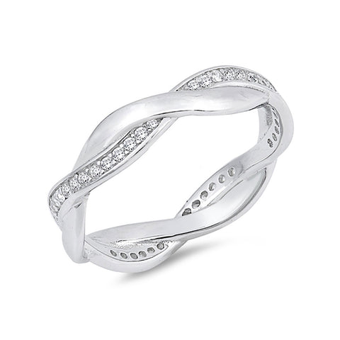5mm Full Eternity Wedding Braided Band Ring Round Shape Cubic Zirconia 925 Sterling Silver - Blue Apple Jewelry
