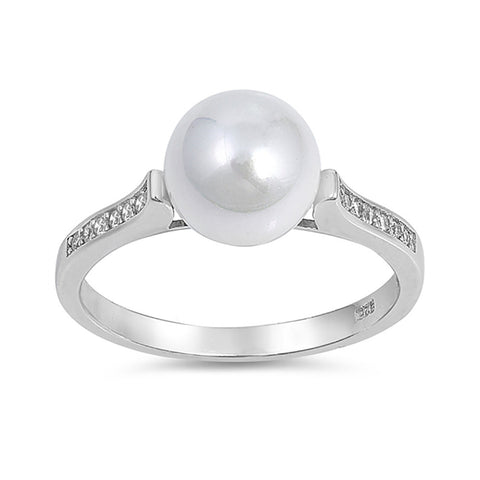 Half Eternity Wedding Band Ring Round Simulated Pearl And CZ 925 Sterling Silver - Blue Apple Jewelry