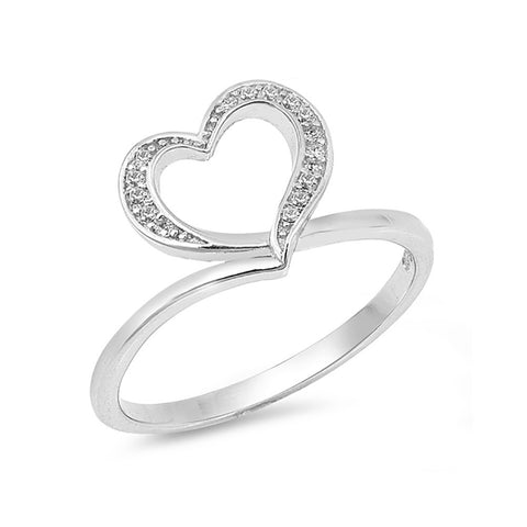 Fashion Heart Ring Round Cubic Zirconia 925 Sterling Silver Heart Promise Ring Open Heart