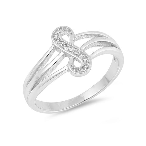 New Design Vertical Infinity Ring Triple Split Shank Round Cubic Zirconia 925 Sterling Silver