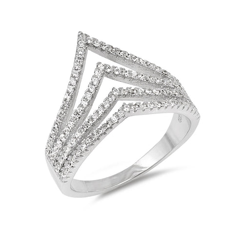 New Design V Chevron Ring Round Cubic Zirconia 925 Sterling Silver