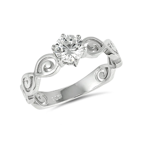 Solitaire Wedding Engagement Ring Swirl Spiral Filigree Accent Round Cubic Zirconia 925 Sterling Silver