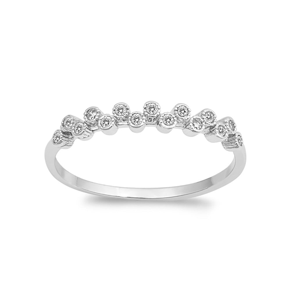 Bezel Eternity Style Round Simulated CZ 925 Sterling Silver Choose Color