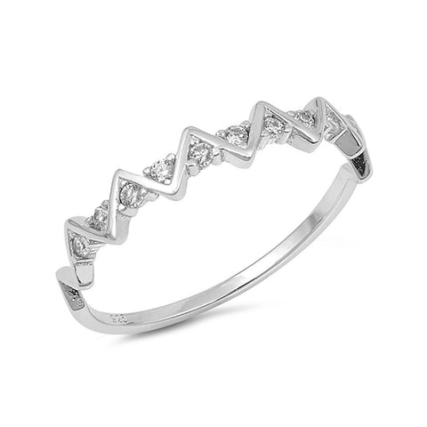 4mm Half Eternity Band Ring Zig Zag Wave Design Round Cubic Zirconia 925 Sterling Silver