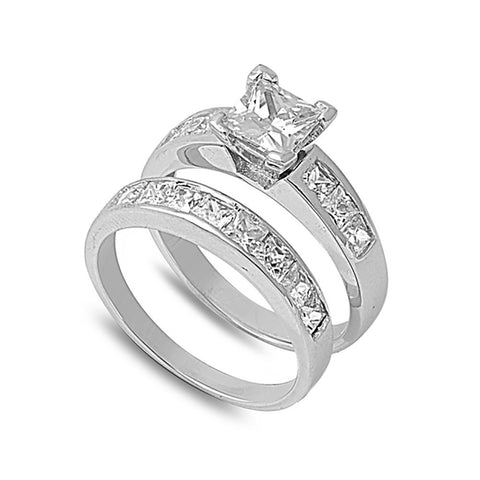 Wedding Engagement Bridal Set Princess Cut Cubic Zirconia 925 Sterling Silver Two Piece Ring Band