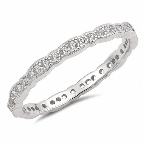 2mm Full Eternity Stackable Wedding Band Ring Round Cubic Zirconia 925 Sterling Silver
