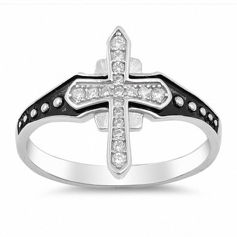 Medieval Cross Ring Round Cubic Zirconia 925 Sterling Silver Black Finish Accent