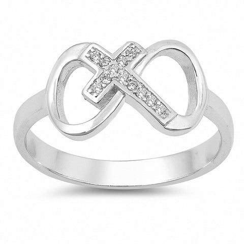 Cross Infinity Ring Round Cubic Zirconia 925 Sterling Silver