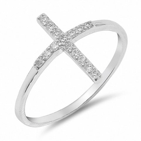 Cross Ring Round Pave Cubic Zirconia 925 Sterling Silver