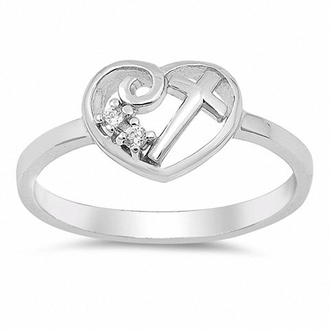 Swirl Filigree Cross Heart Ring Round Cubic Zirconia 925 Sterling Silver