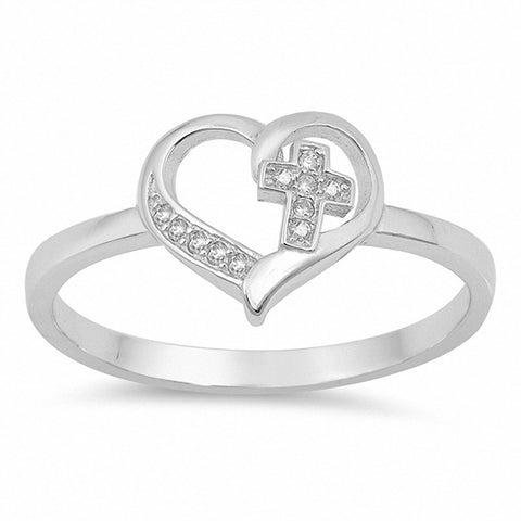 Cross in Heart Ring Round Cubic Zirconia 925 Sterling Silver