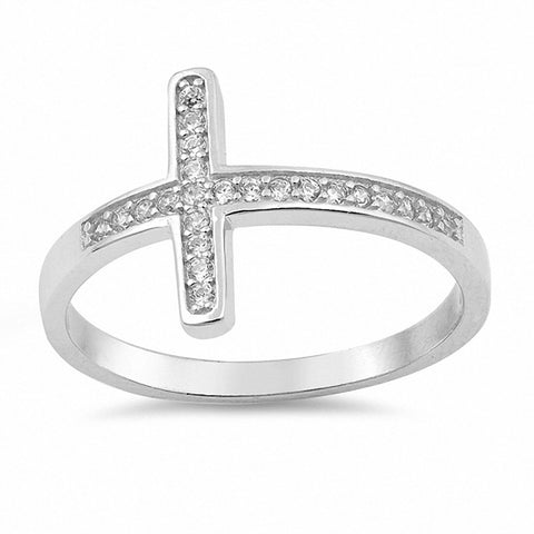 Sideways Cross Ring Round Pave Cubic Zirconia 925 Sterling Silver