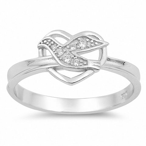 Dove Heart Ring Round Cubic Zirconia 925 Sterling Silver