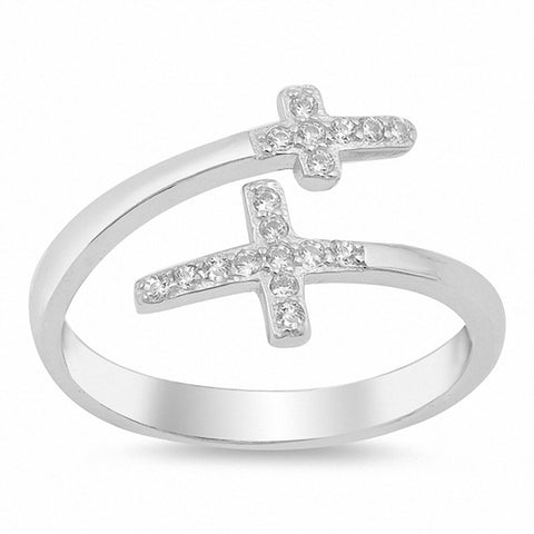 Bypass Wrap Design Double Cross Ring Round Cubic Zirconia 925 Sterling Silver