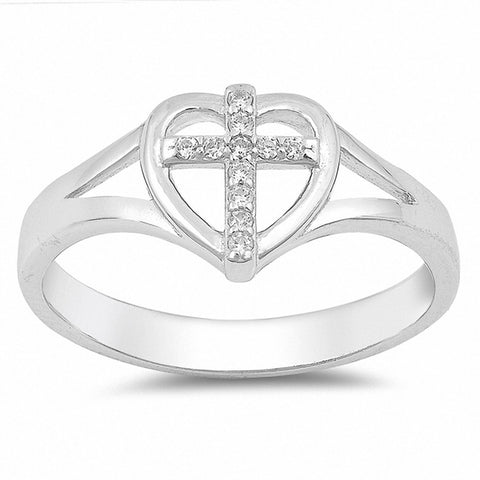 Split Shank Cross Heart Ring Round Cubic Zirconia 925 Sterling Silver