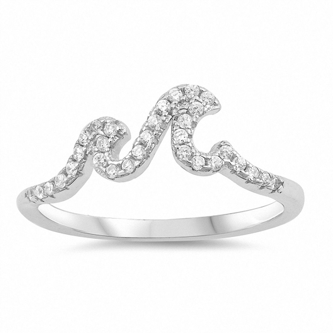 Little Small Wave Ring Round Cubic Zirconia 925 Sterling Silver Choose Color