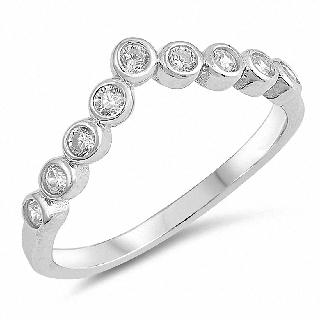 V Shape Chevron Midi Ring Round Bezel Cubic Zirconia 925 Sterling Silver Choose Color
