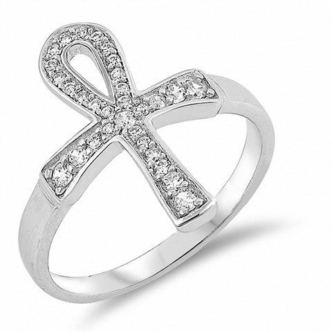 Cross Ankh Ring Round Cubic Zirconia 925 Sterling Silver Choose Color