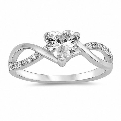 Twist Shank Heart Promise Ring Heart Round Cubic Zirconia 925 Sterling Silver Choose Color