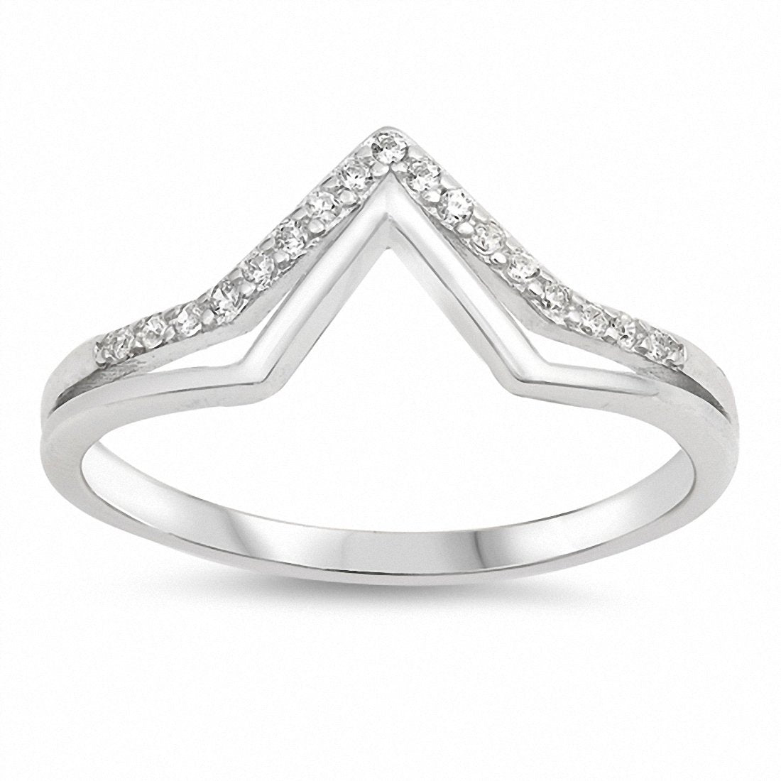Double V Chevron Midi Ring Band Round Cubic Zirconia 925 Sterling Silver Choose Color