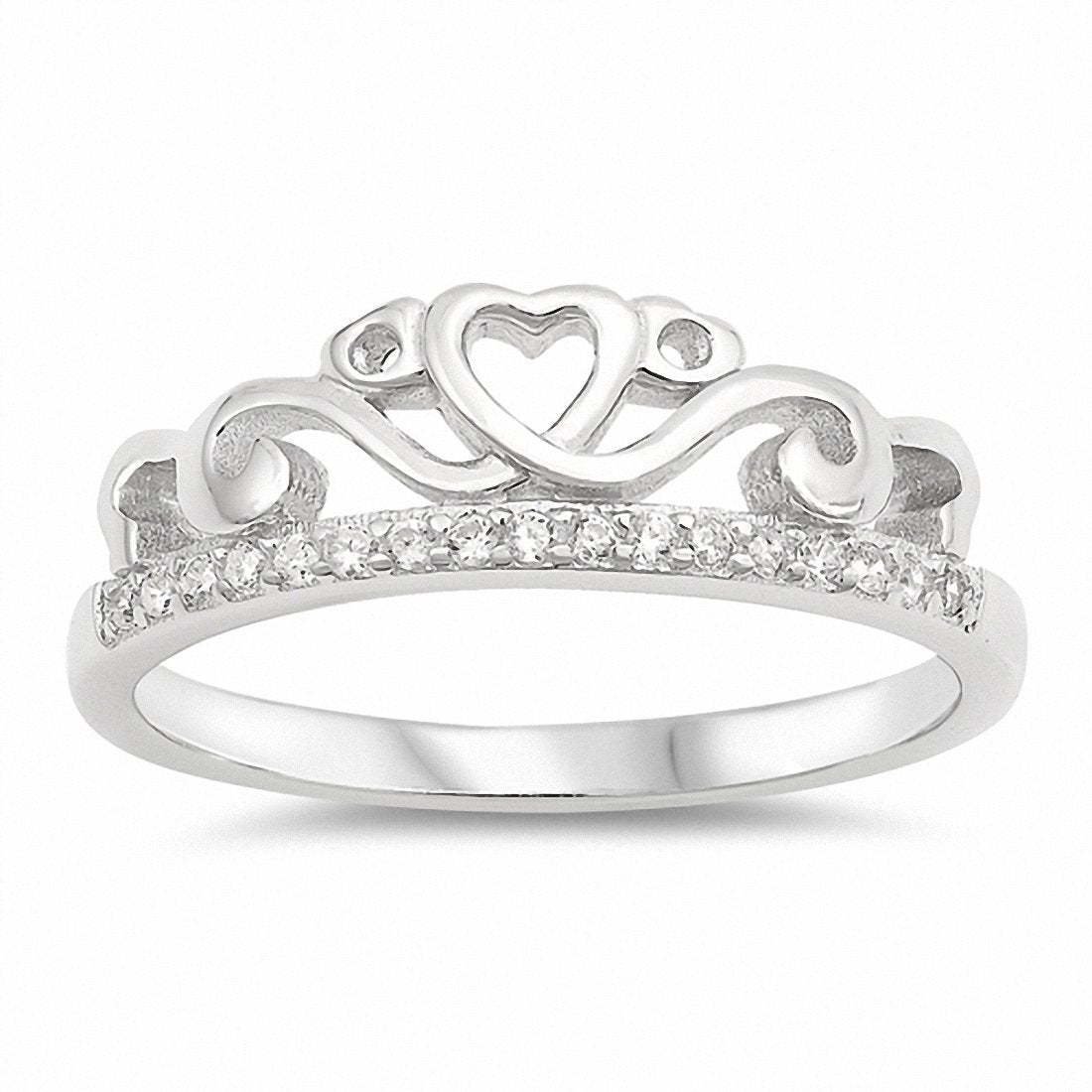 Filigree Crown Heart Ring Round Cubic Zirconia 925 Sterling Silver Choose Color