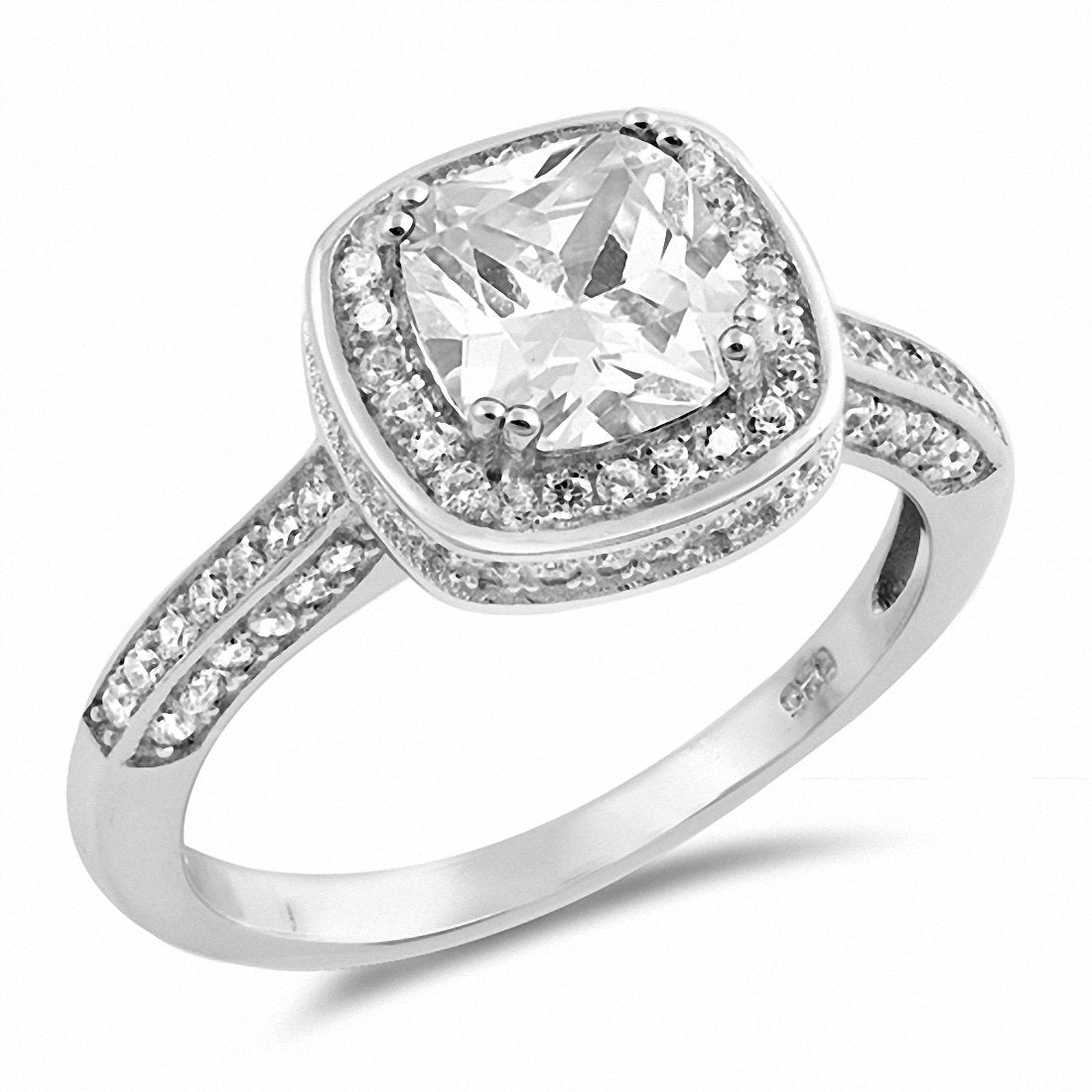 Halo Engagement Ring Cushion Round Cubic Zirconia 925 Sterling Silver Choose Color