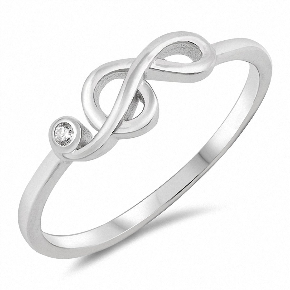Music Note Ring Round Cubic Zirconia 925 Sterling Silver Choose Color