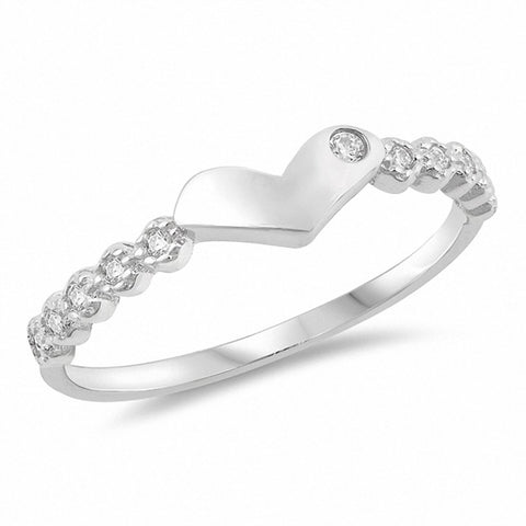 Heart Ring Round Cubic Zirconia 925 Sterling Silver Choose Color