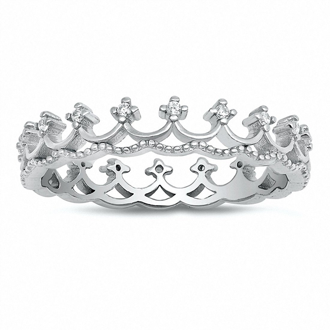 Crown Band Round Cubic Zirconia 925 Sterling Silver Choose Color