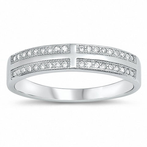Half Eternity Cross Ring Band Round Cubic Zirconia 925 Sterling Silver Choose Color