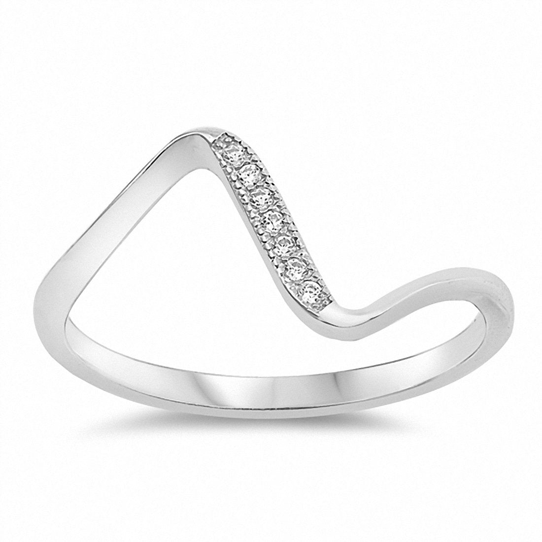 Curve Ring Round Cubic Zirconia 925 Sterling Silver Choose Color