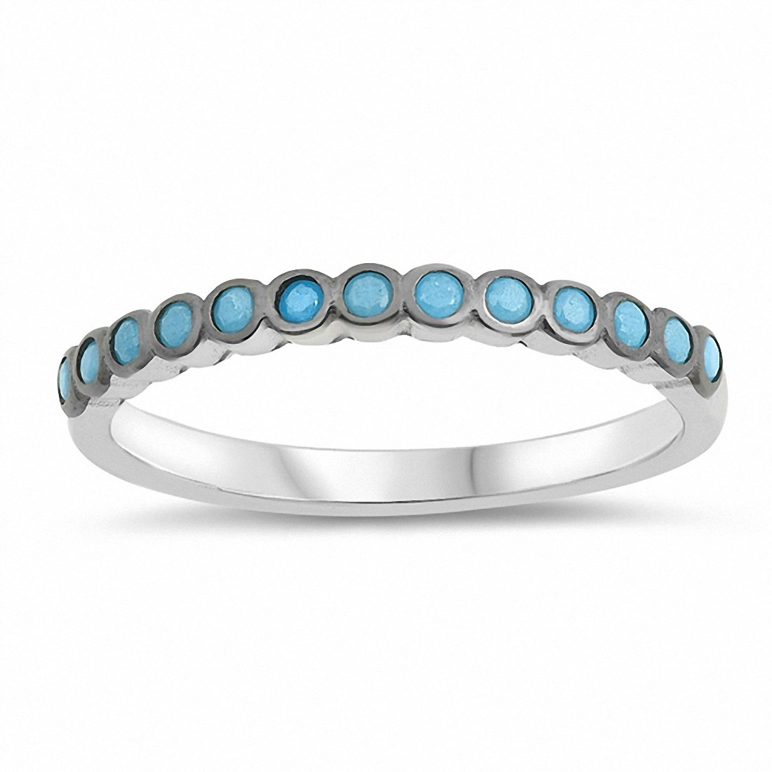 Bezel Eternity Style Round Simulated Nano Turquoise 925 Sterling Silver Choose Color