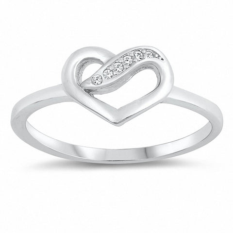 Heart Ring Promise Ring Round Cubic Zirconia 925 Sterling Silver Choose Color