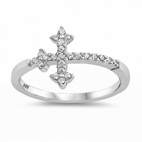 Sideways Cross Ring Round Cubic Zirconi 925 Sterling Silver Choose Color