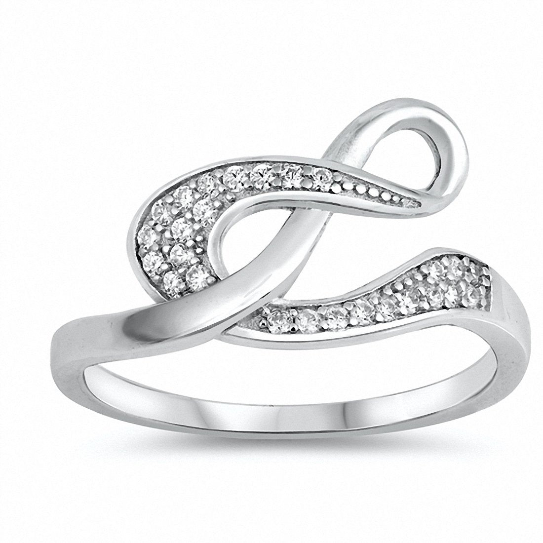 New Design Fashion Infinity Ring Round Cubic Zirconia 925 Sterling Silver Choose Color