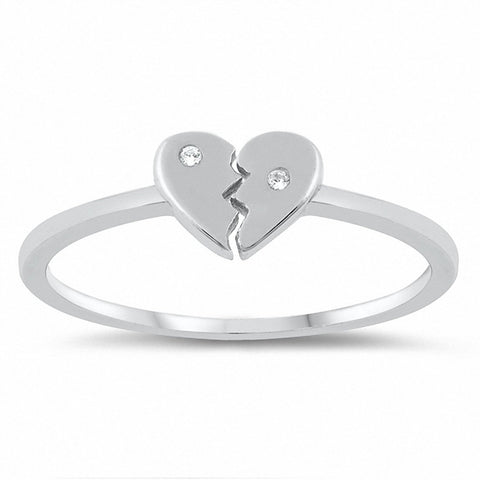 Broken Heart Ring Round Cubic Zirconia 925 Sterling Silver Choose Color