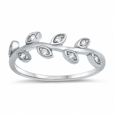 Vine Leaf Ring Round Cubic Zirconia 925 Sterling Silver Choose Color