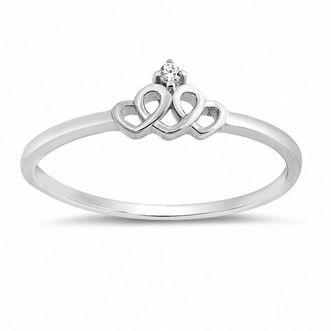 Crown Double Heart Ring Round Cubic Zirconia 925 Sterling Silver Choose Color