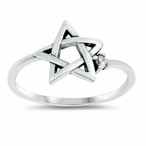 Jewish Star Ring Round Cubic Zirconia 925 Sterling Silver Choose Color