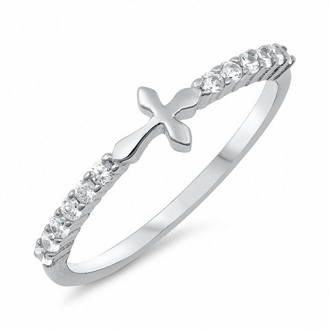 Petite Dainty Sideways Cross Ring Cross Ring Round Cubic Zirconia 925 Sterling Silver Choose Color
