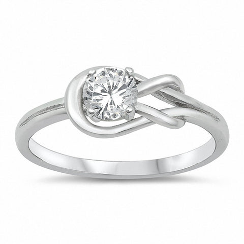 Tangled Knot Infinity Ring Round Cubic Zirconia 925 Sterling Silver Choose Color