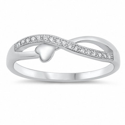 Infinity Heart Ring Braided Design Round Cubic Zirconia Crisscross 925 Sterling Silver Choose Color